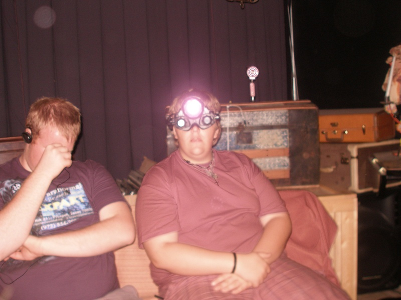 Michael M using a night vision device at the Magic Shop