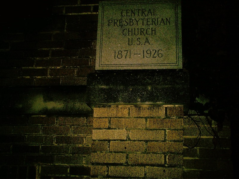 This cornerstone tells the dates of the church