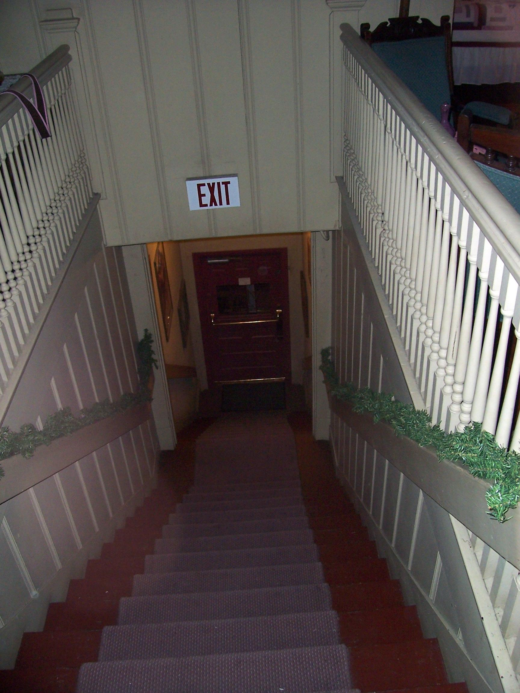 The front stair view from the top